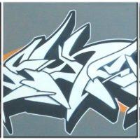 Styles_'Mayhem'_Untitled-Style1-1_(GreyOrangeBack)_(3canvases)_3x50x50_(2007)